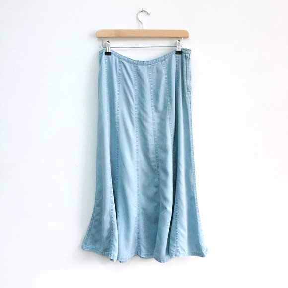YZZA Vintage Panelled Chambray Midi Skirt - size 6
